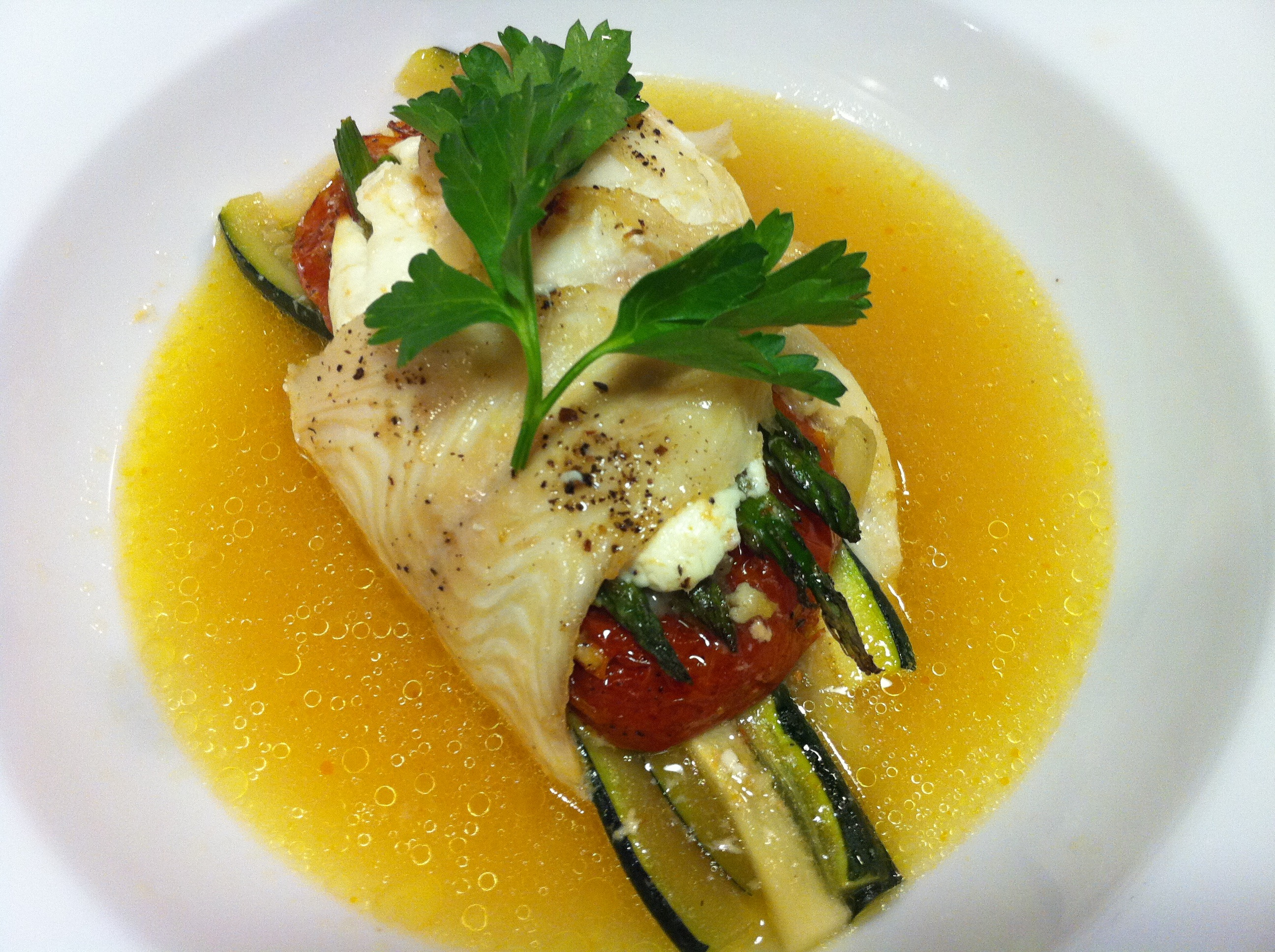 Lemon sole wrapped around veggies (Photo Credit: Adroit Ideals)