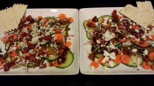 Two Jackson Pollock-inspired Salads with Tarragon Balsamic Dressing (Photo Credit: Adroit Ideals)