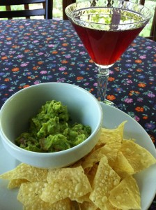 Guacamole and Chips with a Pomegranate Martini (Photo Credit: Adroit Ideals)
