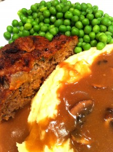 Meatloaf, Mashed Potatoes, Peas, and Gravy (Photo Credit: Adroit Ideals)