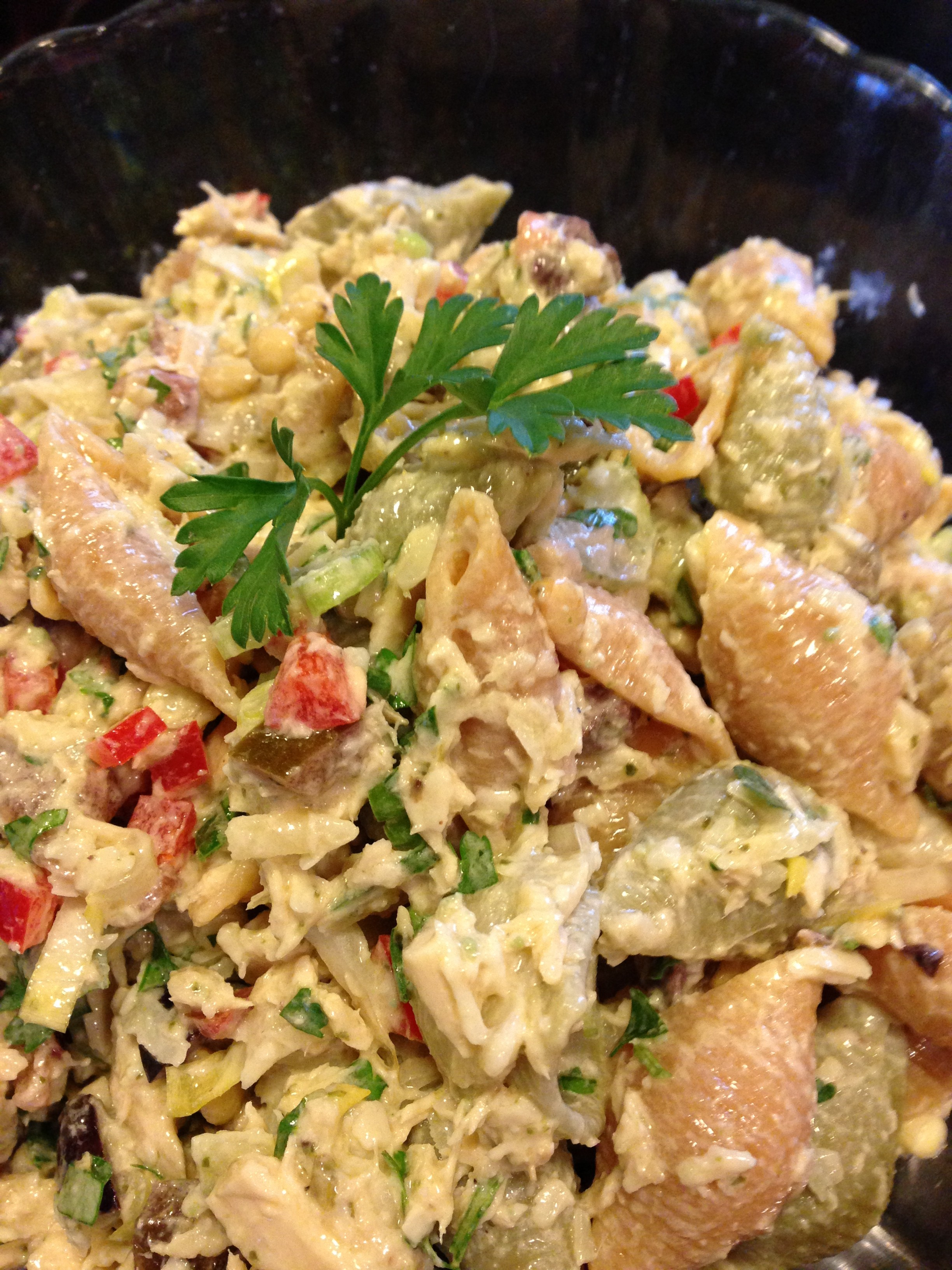 Mediterranean-Style Tuna Pasta Salad with Lemony Pesto Dressing (Photo Credit: Adroit Ideals)