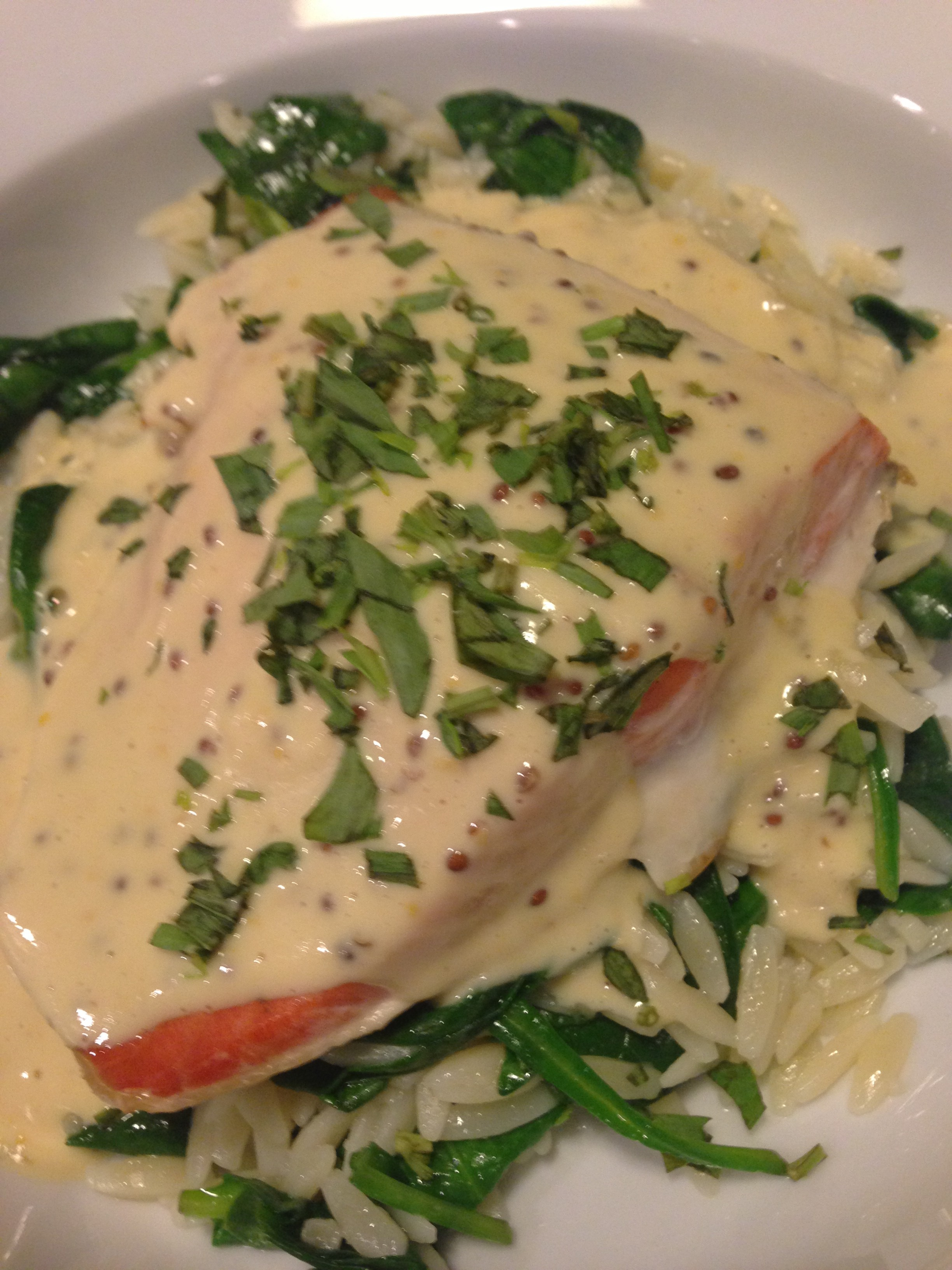 Baked Salmon with Mustard Sauce over Garlicky Spinach and Buttered Orzo