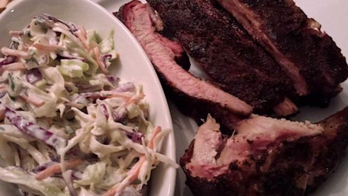 smoked pork ribs with creamy coleslaw
