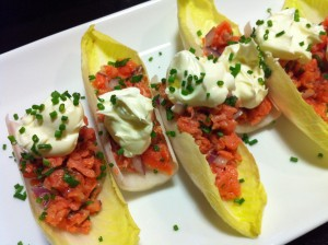 Elegant Smoked Salmon with Creme Fraiche on Endive Spears (Photo Credit: Adroit Ideals)