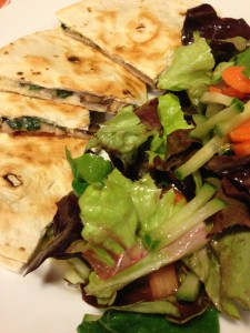 Spinach and Mushroom Quesadilla served with a Salad (Photo Credit: Adroit Ideals)