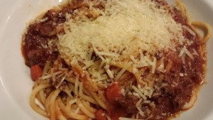 The Best Spaghetti with Meat Sauce served with lots of Parmesan (Photo Credit: Adroit Ideals)
