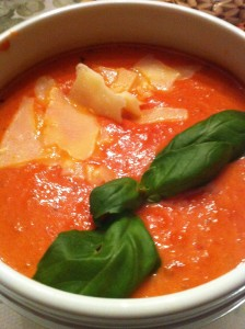 Tomato Basil Soup with Shaved Parmesan & Basil Garnish (Photo Credit: Adroit Ideals)