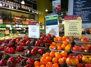 Heirloom Tomato and Pepper Display at Whole Foods Market (Photo Credit: Adroit Ideals)