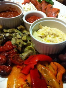Antipasti: Roasted Red Peppers and Tomatoes, Artichokes, and Dilled Smoked Salmon (Photo Credit: Adroit Ideals)