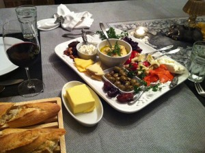 Dinner: Antipasti Platter, Baguette, Butter, and Wine! (Photo Credit: Adroit Ideals)