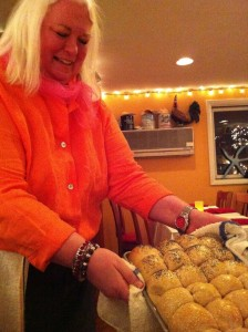 Chef Patsy Dill Rankin shows off her fabulous dinner rolls!  (Photo Credit: Adroit Ideals)