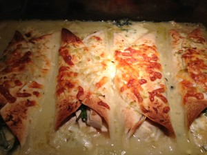 Chicken Spinach Enchiladas with Green Chile Sauce are done! (Photo Credit: Adroit Ideals)