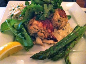 The best crabcakes at the beach -- huge chunks of crabmeat in crabcakes at Patsy's Restaurant! (Photo Credit: Adroit Ideals)