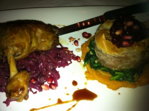 In-house-made duck confit over braised red cabbage (!!!) at Patsy's Restaurant (Photo Credit: Adroit Ideals)
