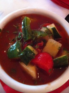 Summer Gazpacho soup with crunchy fresh veggies at Patsy's Restaurant (Photo Credit: Adroit Ideals)