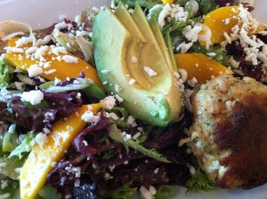 The Key West Salad with Crabcake, fresh mango, and avocado at Patsy's Restaurant (Photo Credit: Adroit Ideals)
