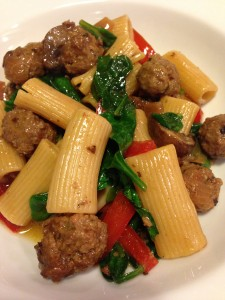 Rigatoni with Italian Sausage, Fresh Spinach, Mushrooms, and Red Bell Pepper (Photo Credit: Adroit Ideals)