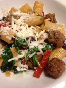 Rigatoni with Italian Sausage, Spinach, Mushrooms, and Red Bell Pepper with Parmesan (Photo Credit: Adroit Ideals)
