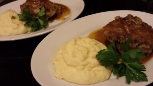 Baked Stuffed Pork Chops smothered with Pan Drippings.  Side of Easy Mashed Potatoes (Photo Credit: Adroit Ideals)