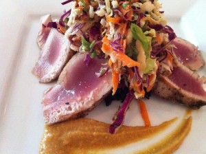 Seared tuna with a cabbage and carrot salad at Patsy's Restaurant (Photo Credit: Adroit Ideals)