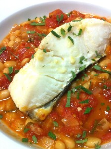 Grilled Halibut over White Bean Stew (Photo Credit: Adroit Ideals)