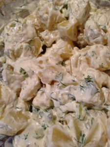 Golden Potatoes mixed with Dill and Greek Yogurt (Photo Credit: Adroit Ideals)