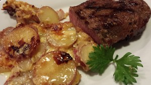 Grilled Steak and Potatoes au Gratin (Photo Credit: Adroit Ideals)