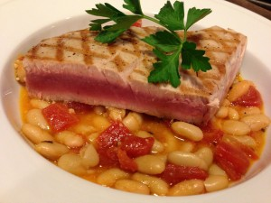 Grilled Tuna over White Bean Stew (Photo Credit: Adroit Ideals)