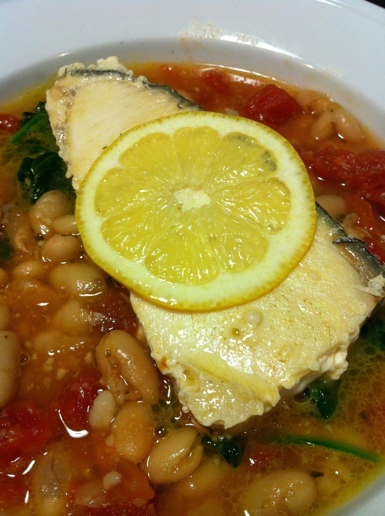 Hearty grilled fish over white bean stew a food lover 39 s for Phils fish grill