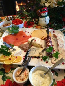 Cheeses and smoked salmon on Christmas Morning (Photo Credit: Adroit Ideals)