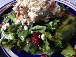 Scrumptious Chicken Salad served over wild greens at Kool Bean Bistro in Ocean View, Delaware (Photo Credit: Adroit Ideals)