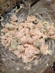 Roasted chicken, mayo, celery, sweet onion, celery seed make a great chicken salad! (Photo Credit: Adroit Ideals)