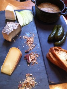 Pot of pate with assorted cheeses at Cafe Artifact  (Photo Credit: Adroit Ideals)