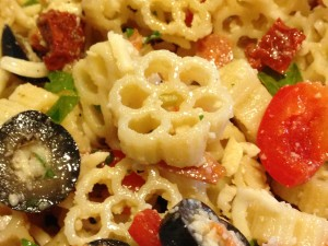 Pizza Pasta Salad for your next picnic or party buffet!  (Photo Credit: Adroit Ideals)