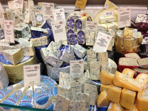 A selection of bleu cheeses at Whole Foods Market (Photo Credit: Adroit Ideals)