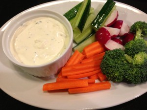 My Favorite Bleu Cheese Dressing also performs as a thick dip for vegetables (Photo Credit: Adroit Ideals)