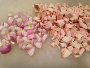 Chopped smoked chicken and chopped shallots (Photo Credit: Adroit Ideals)