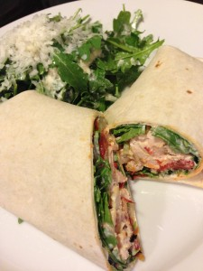Smoked Chicken Wrap with Roasted Red Pepper Aioli, Roasted Red Peppers, and Arugula (Photo Credit: Adroit Ideals)