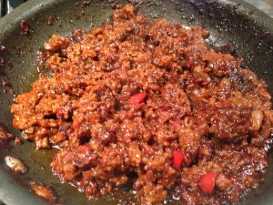 The sloppy joe filling is sufficiently reduced and ready for the toasted bun! (Photo Credit: Adroit Ideals)