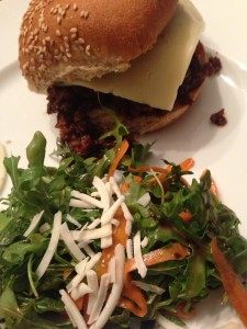 Super Sloppy Joe sandwich with Havarti slice, and served with arugula carrot salad (Photo Credit: Adroit Ideals)
