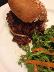 Super Sloppy Joes go great with a side salad! (Photo Credit: Adroit Ideals)