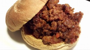 My super sloppy joe served on a toasted wheat bun (Photo Credit: Adroit Ideals)
