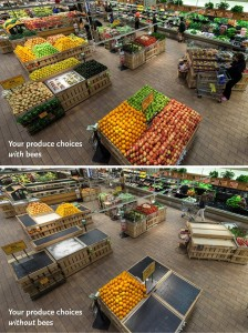 Your produce choices WITH BEES and WITHOUT BEES.  (Photo Courtesy of Whole Foods Markets)