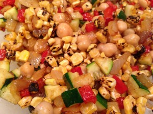 Chickpeas, zucchini, red bell pepper, roasted corn, and onion (Photo Credit: Adroit Ideals)
