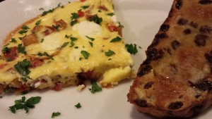 Baked Veggie Frittata with Walnut Raisin Toast (Photo Credit: Adroit Ideals)