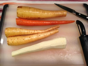 Peel the parsnips and carrot to cook for the puree (Photo Credit: Adroit Ideals)