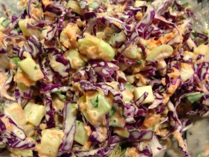 Using purple cabbage makes a colorful coleslaw dish! (Photo Credit: Adroit Ideals)