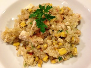 Grilled Chicken with Quinoa, Roasted Corn, Chickpeas, Zucchini, Red Bell Pepper, Onions, Pine Nuts (Photo Credit: Adroit Ideals)