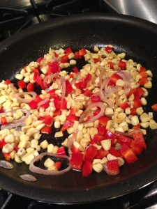 Saute the corn, bell pepper, and shallots in some olive oil or butter  (Photo Credit: Adroit Ideals)