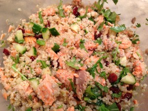 Chill the Quinoa Salmon salad for four hours or overnight (Photo Credit: Adroit Ideals)